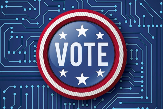 Election 2016 teaser - electronic voting button on blue circuitry