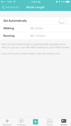 fitbit stride length