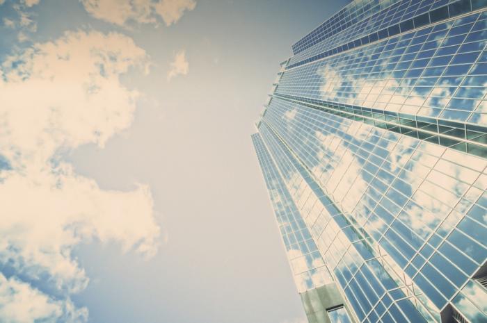 glass office building cloud