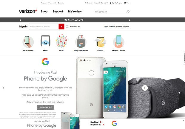 Google Pixel Phone - Verizon Website
