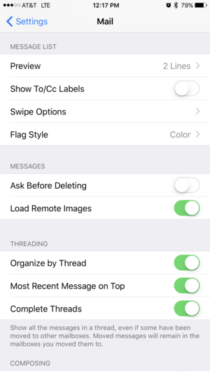 ios 10 mail settings