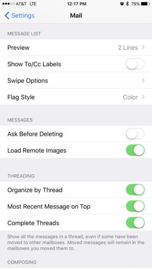 ios 10 mail settings