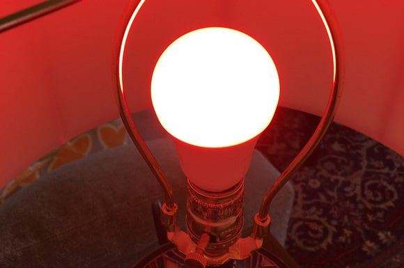 Lightify color LED smart bulb in a lamp