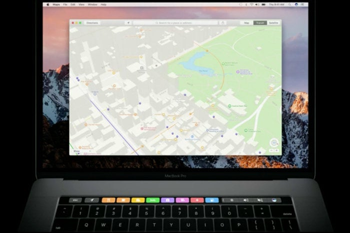 macbook pro touch bar maps