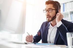 man computer headset speech recognition