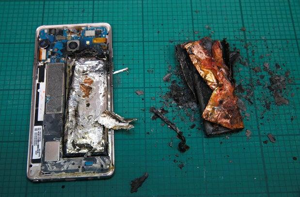 samsung galaxy note 7 fire battery explode