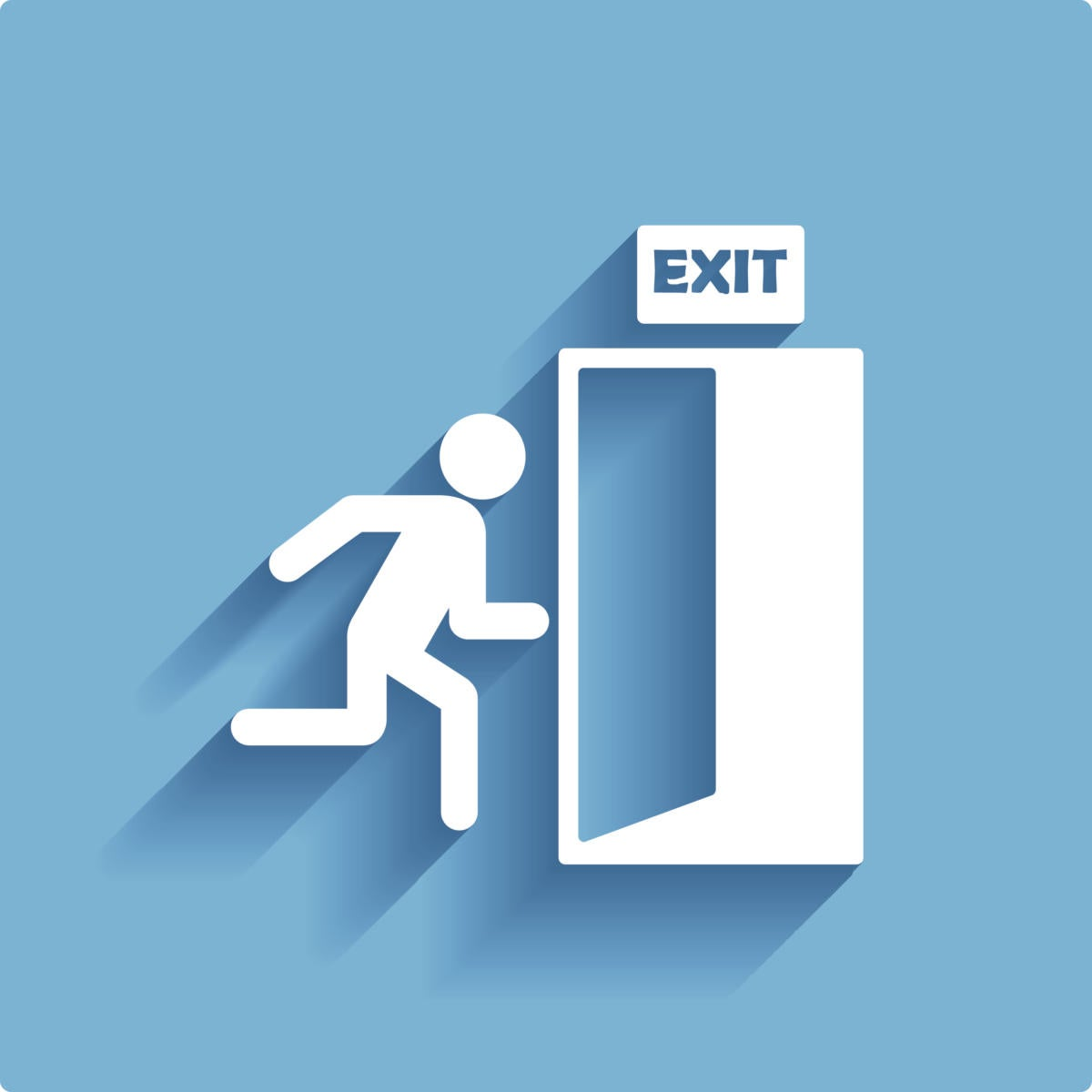 icon man running toward exit sign and door