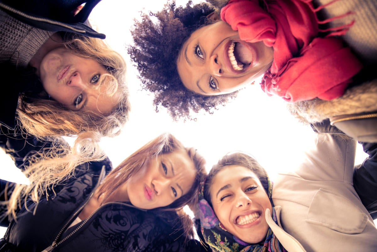 group of diverse happy women