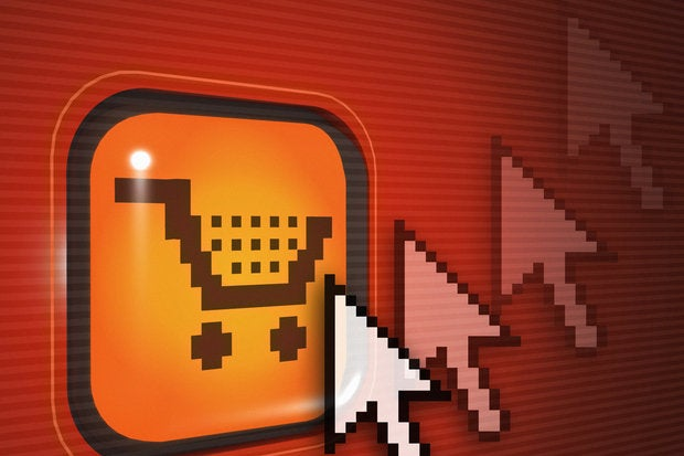 red monitor with shopping cart icon online shopping