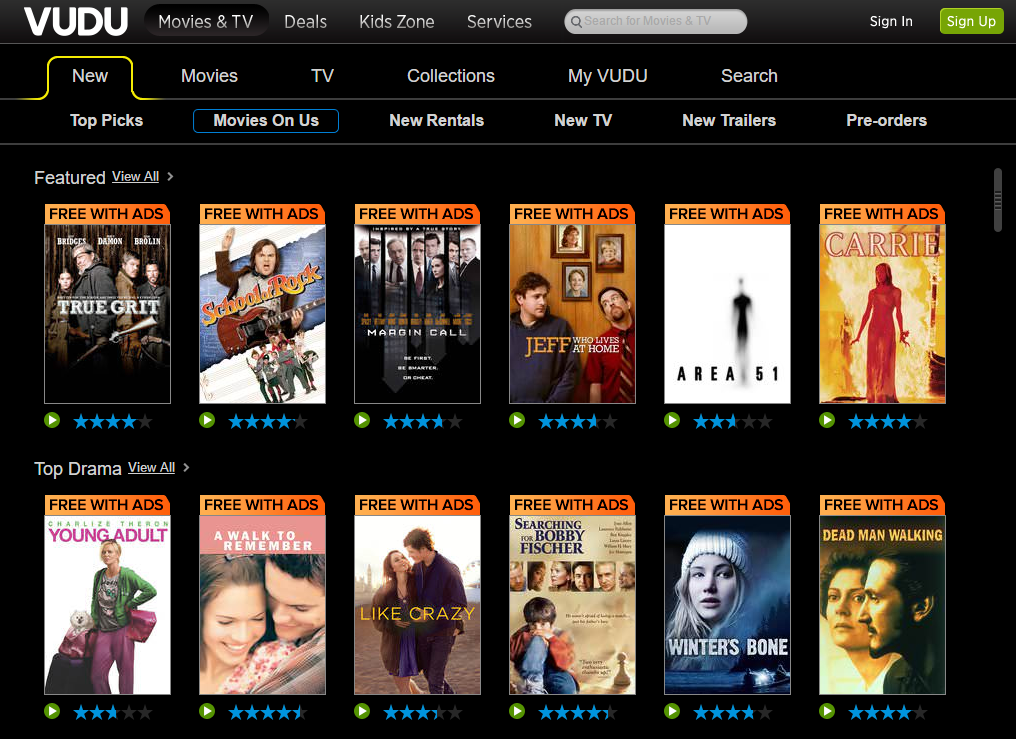 Vudu starts streaming free, ad-supported 'Movies on Us' | TechHive