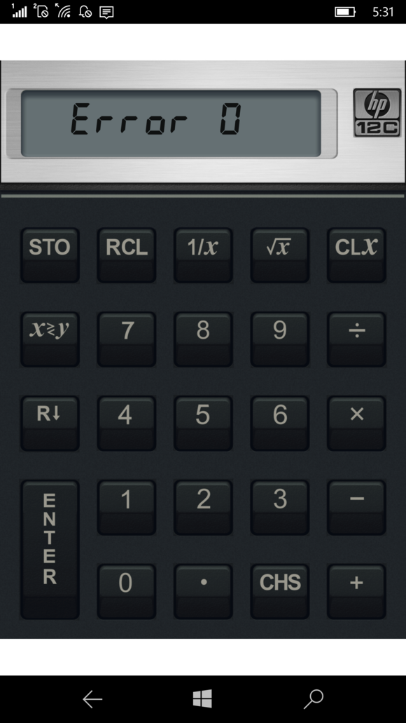 HP Elite x3 12 financial calculator app