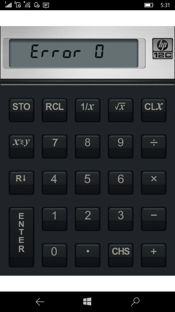 HP Elite x3 12 financial calculator app