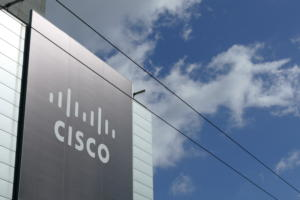 20161101 cisco logo sign with clouds at partner summit 2016