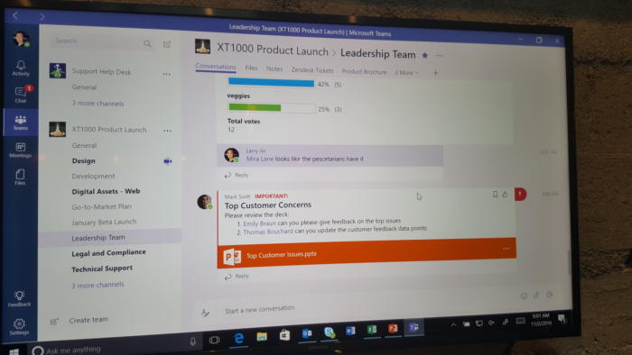 A photograph shows Microsoft Teams running at Microsoft's launch event last year.