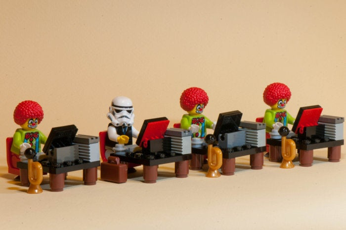 clowns stormtrooper star wars workstations computers office team