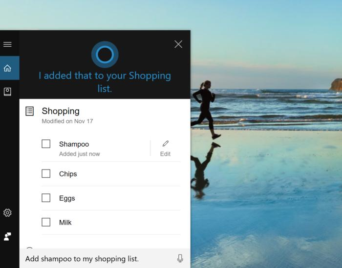 cortana add shampoo to my shopping list
