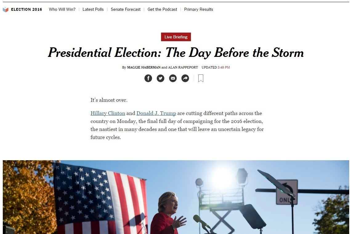 Polls Stats And Parodies The Mustfollow Websites Of The - Nyt 2016 us election interactive map