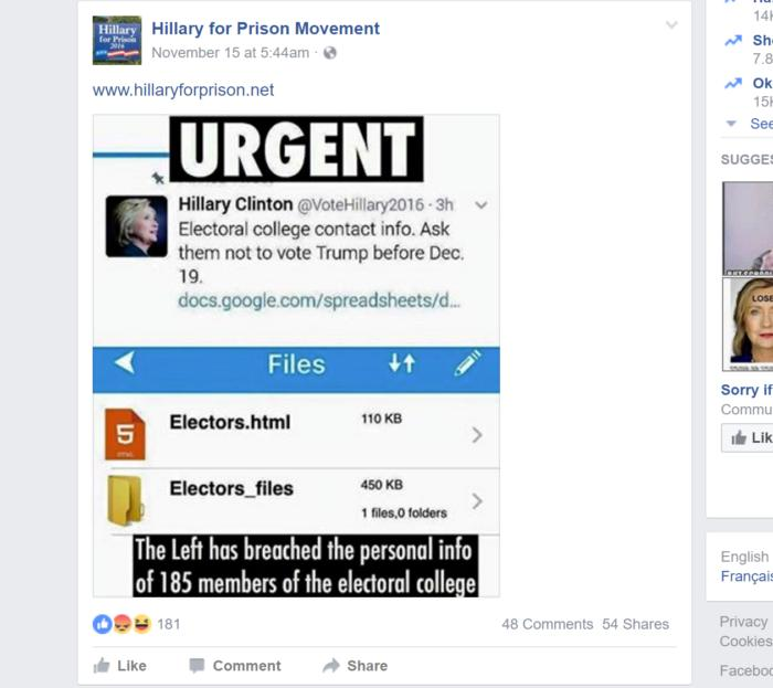 facebook fake hillary electroal college