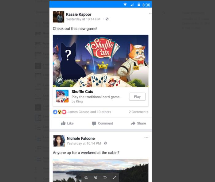 facebook news feed game