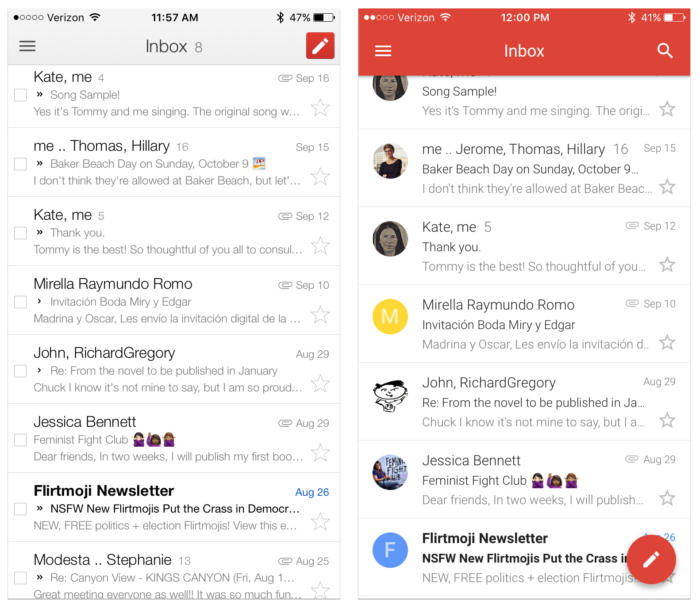 gmail ios app before and after