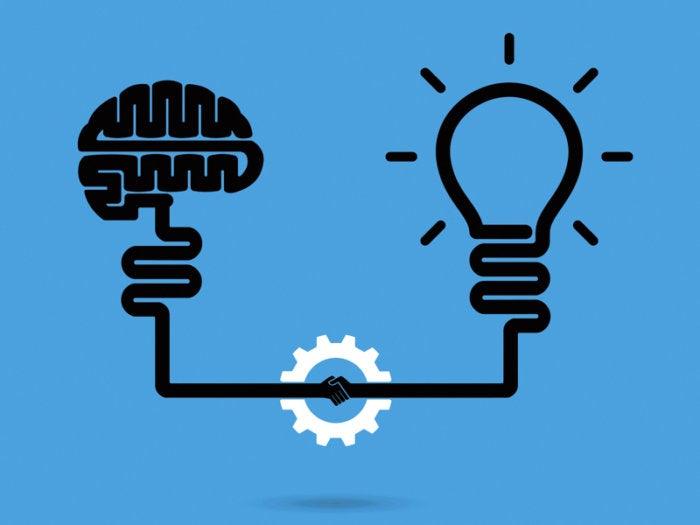 Brain connecting with idea to create an innovation