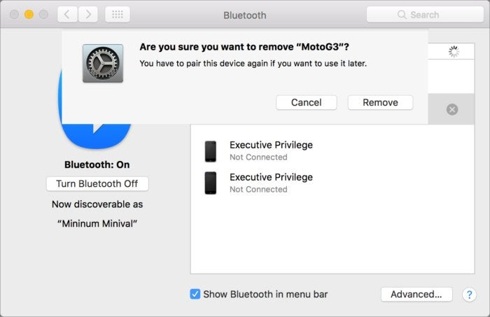mac911 bluetooth delete device