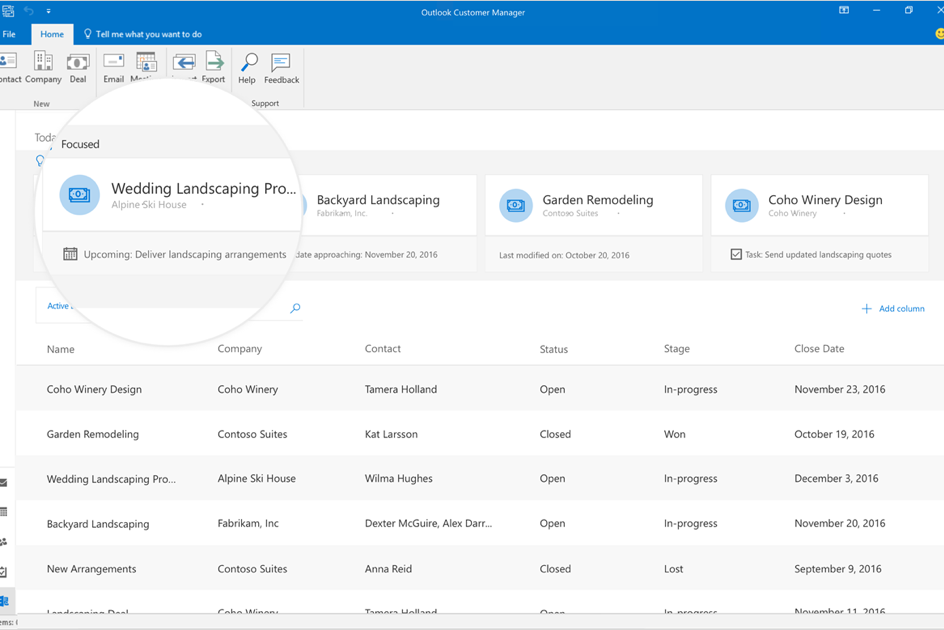 outlook customer manager screen