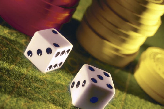 poker chips and dice