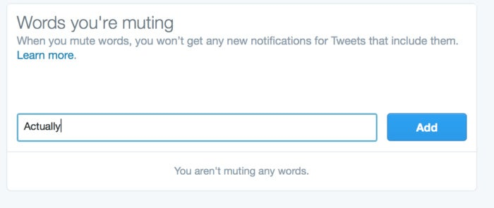 privatei twitter mute word