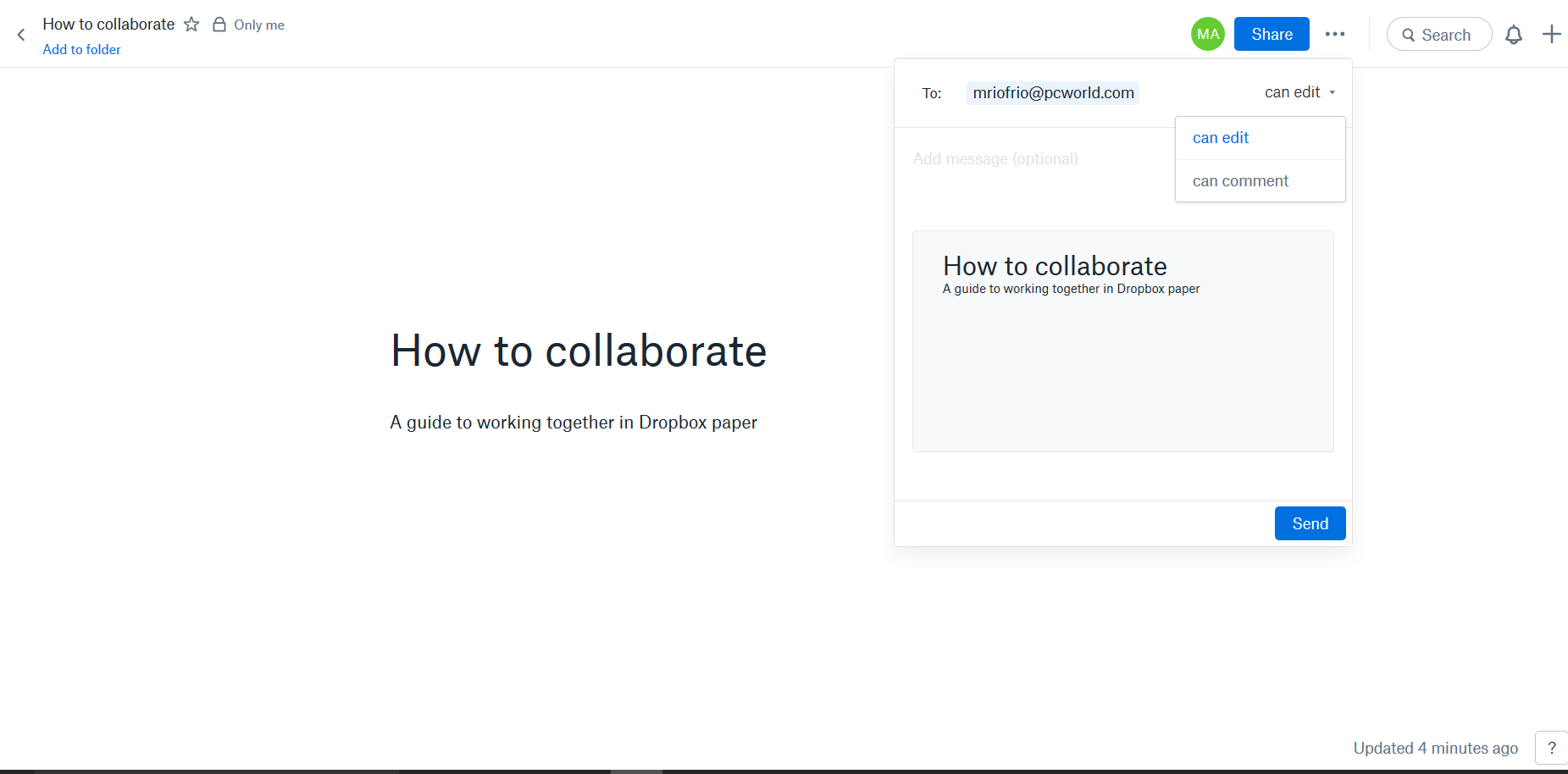 How to collaborate on a document in Dropbox Paper PCWorld