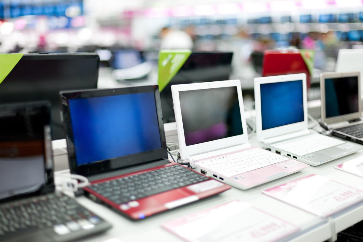 PC Laptops on Display in a Store