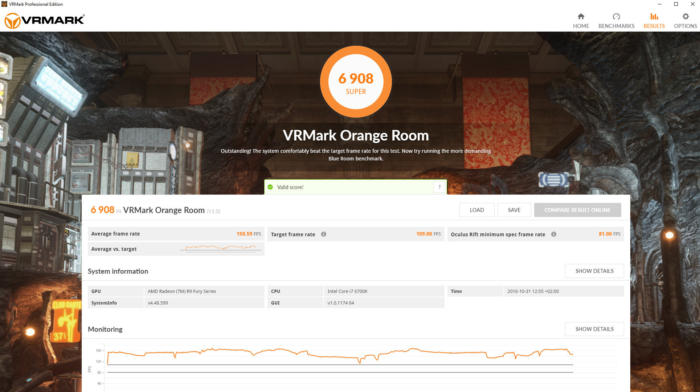 vrmark orange room result screen