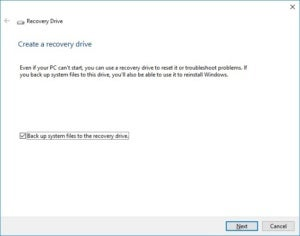 windows 10 recovery drive create a recovery drive