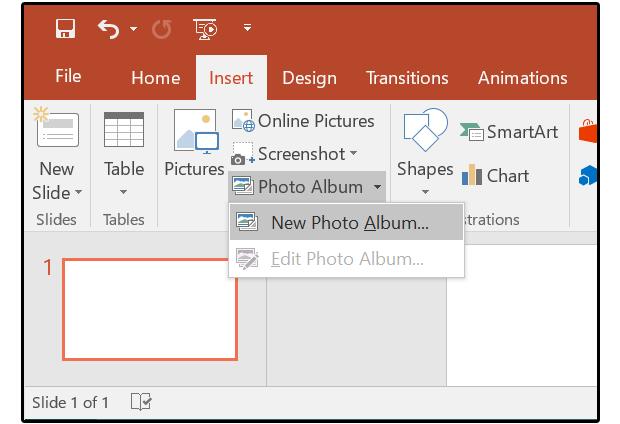 01 select insert photo album new photo album