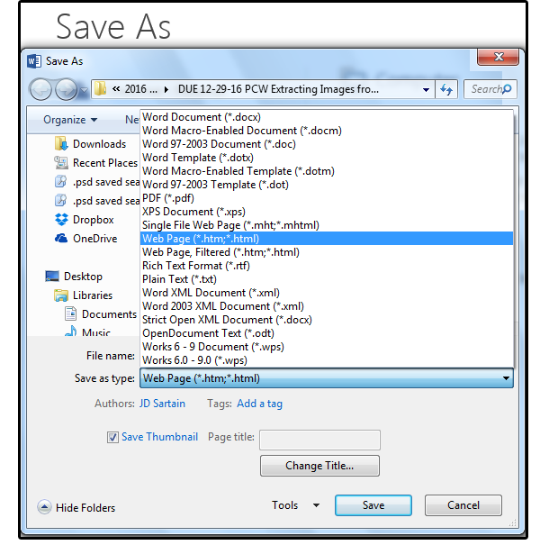 06 save the docx file as a webpage