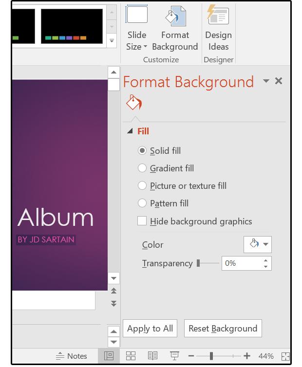 08 select design format background for background options