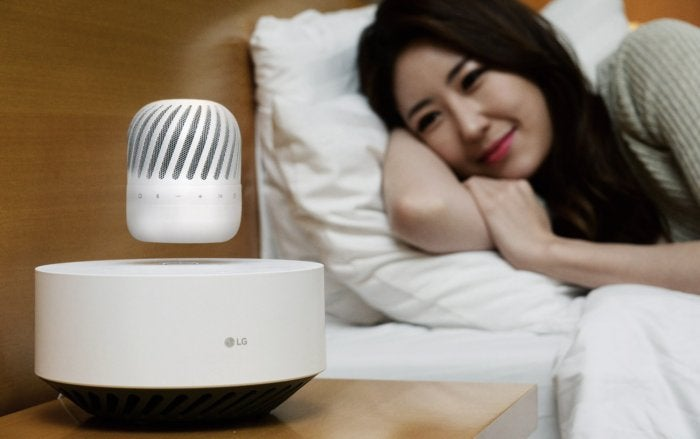 lg levitating portable speaker lifestyle