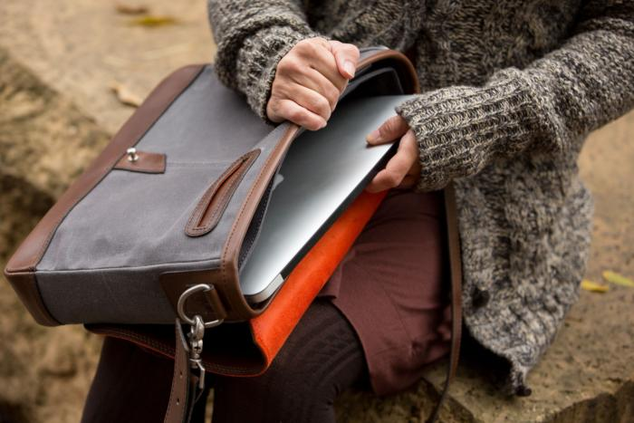 pad and quill leather messenger bag