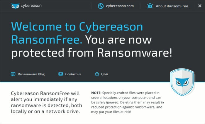ransomwarefree welcome screen