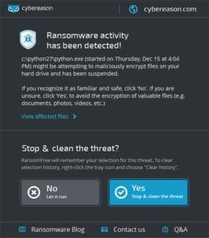 ransomwarefreealert window