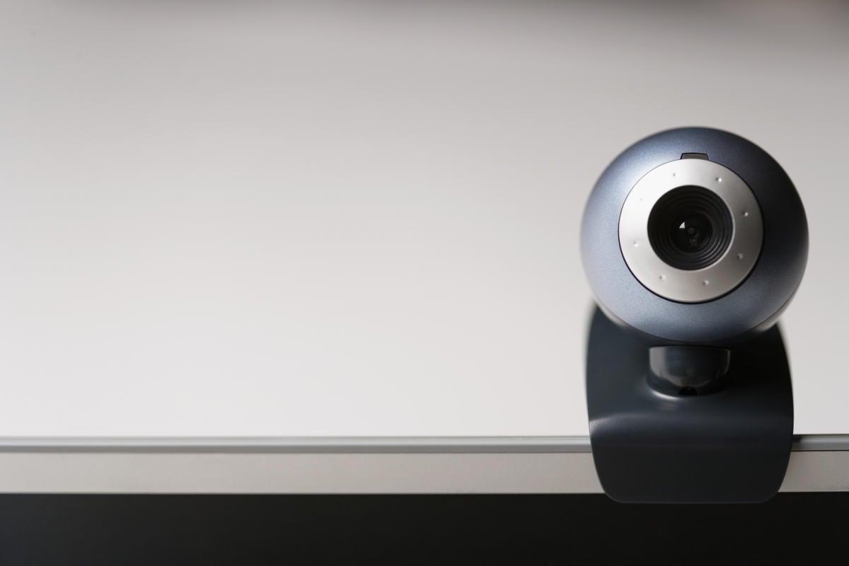 webcam on laptop stock