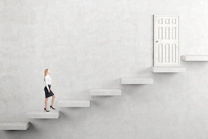 woman stairway door