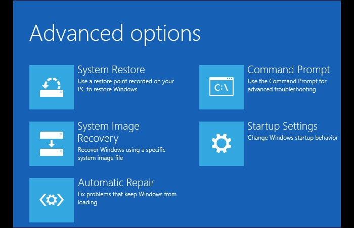 Advanced Windows 10 troubleshooting options