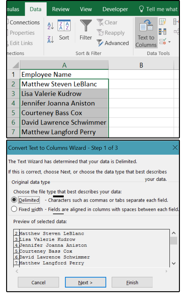 01 convert text to columns wizard select delimited