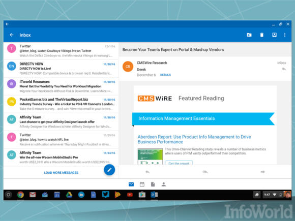 Outlook Android on Chrome
