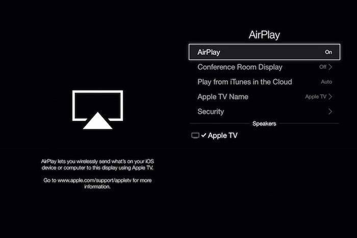airplay settings appletv