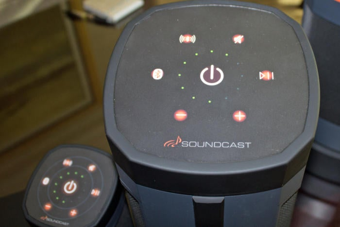 Capacitive touch buttons on Soundcast's VGX series speakers