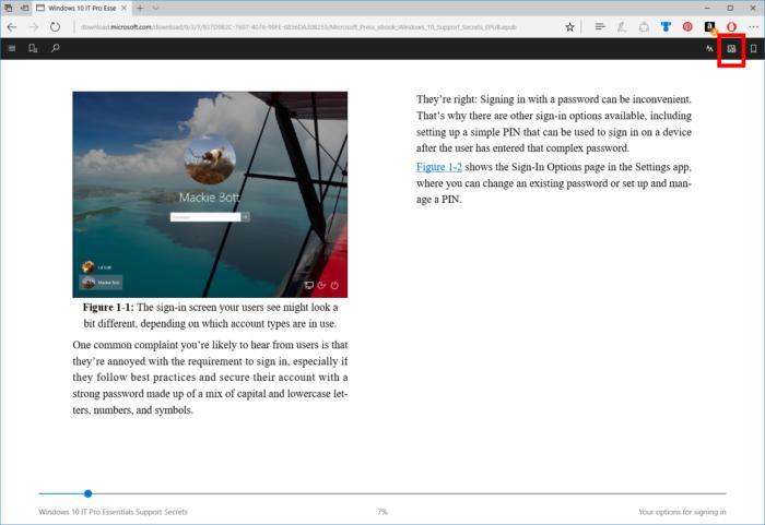 Windows 10 Microsoft edge aloud