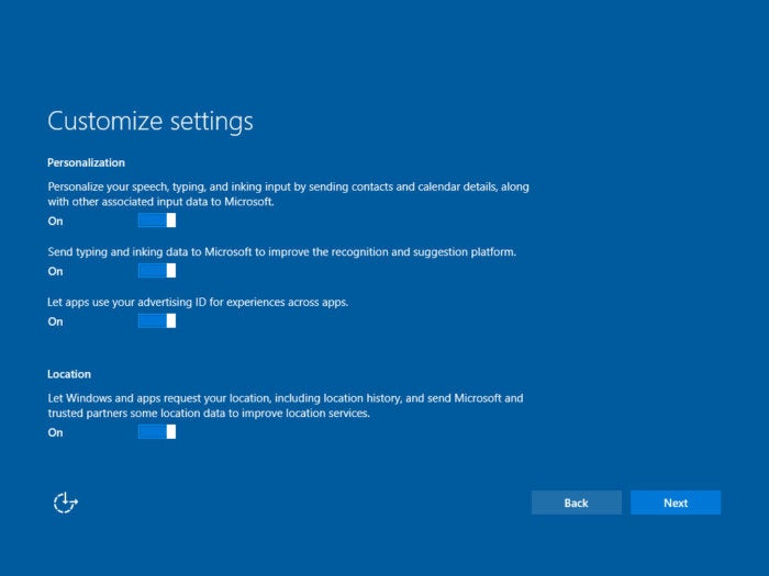 Win10 Creators Update: Customize settings (screen 1)