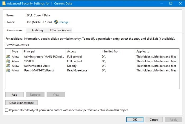 How to reclaim file permissions and ownership in Windows